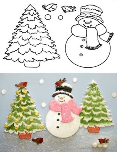LARGE SNOWMAN AND TREE