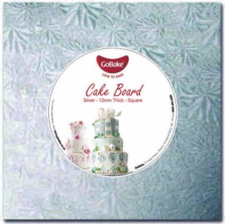 "12"" Square, 12mm  Cake Board, Silver"