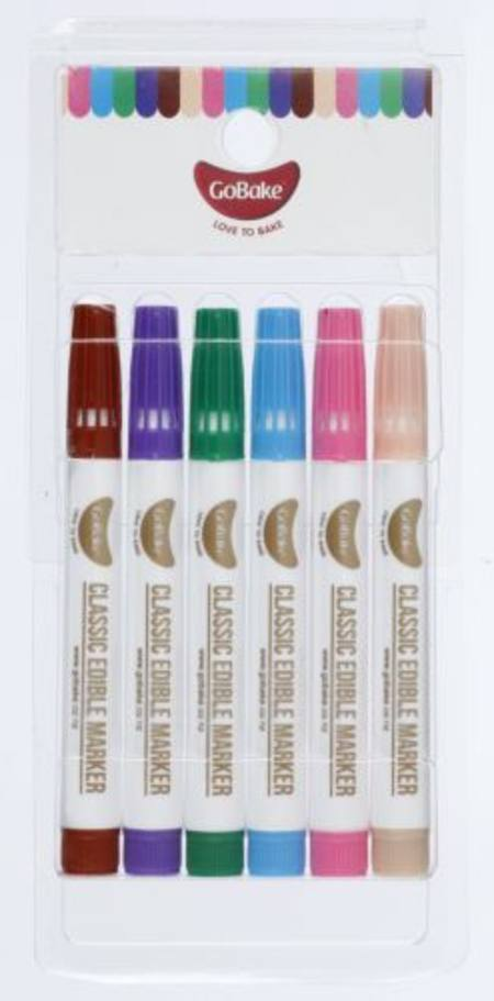 Edible Marker assorted set, 6pack