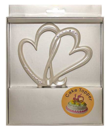 Cake Topper - Pearl Double Heart