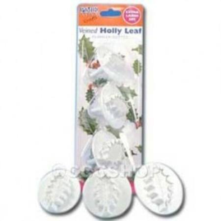 Holly leaf plunger cutter, set of 3, Veined
