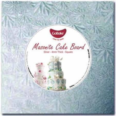9'' SQUARE MASONITE CAKE BOARD, 9MM, Silver