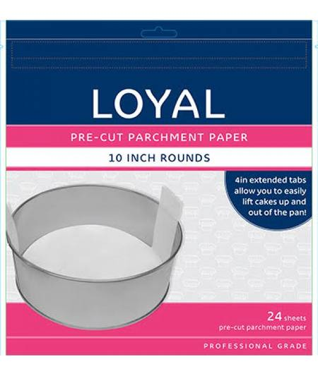 "Pre-Cut Parchment Paper, 10"" round, pack of 24"