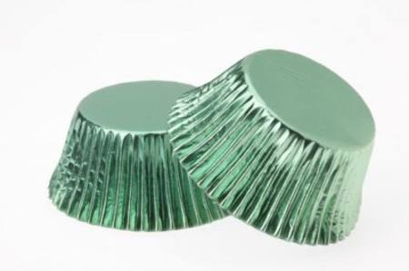 Mini Foil Cup Cake Cases - Green 40 pc