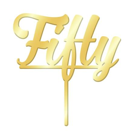 Cake Topper - Fifty- Gold