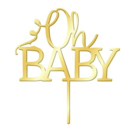 Cake Topper - Oh Baby - Gold Mirror