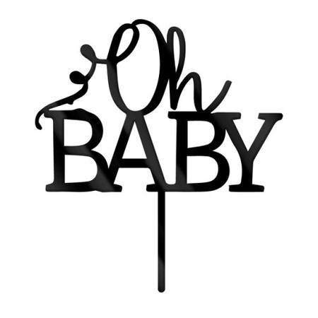 Oh Baby Black Acrylic Cake Topper