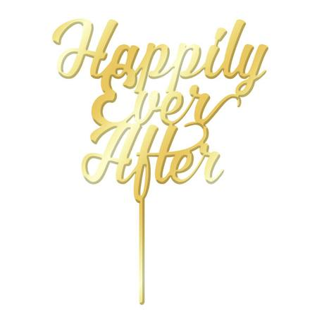 Cake Topper - Happily Ever After - Gold Mirror