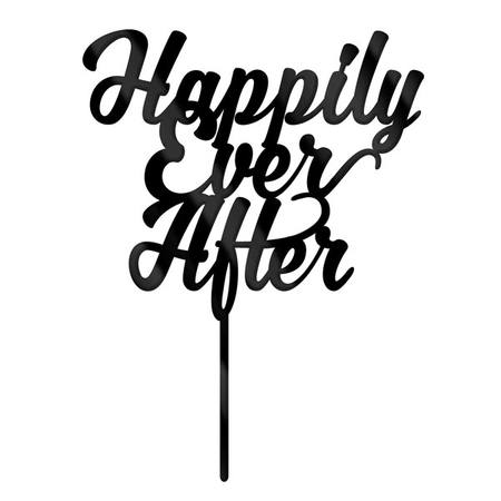 Cake Topper - Happily Ever After - Black