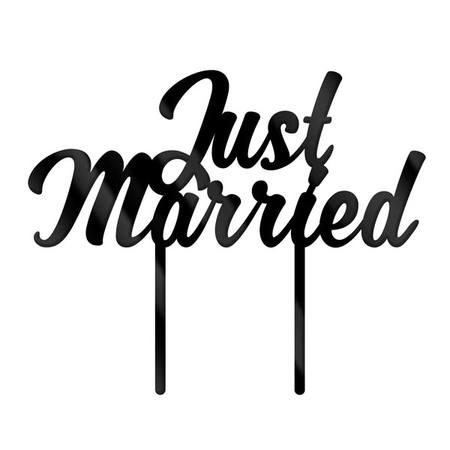 Cake Topper - Just Married - Black Acrylic